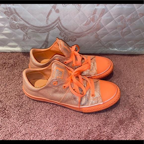 Converse Shoes   Orange Sparkly Low
